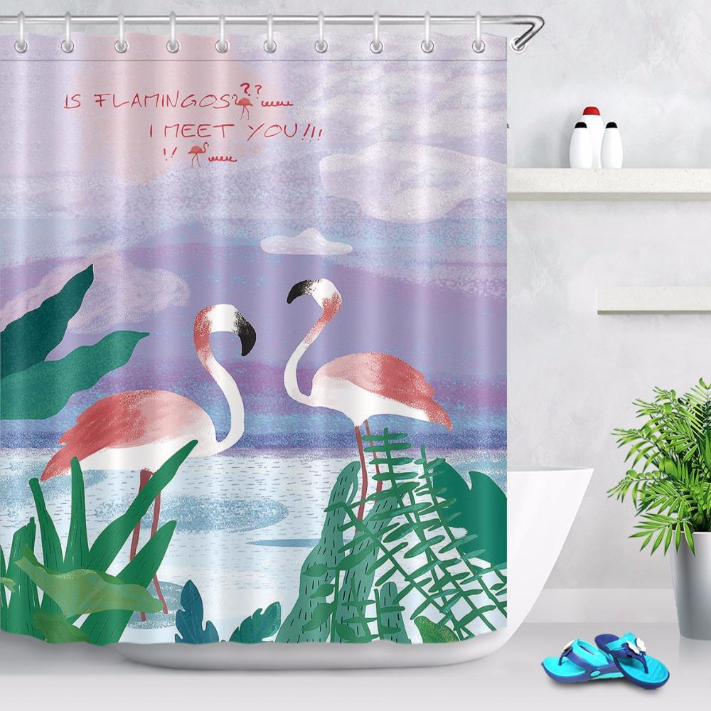 2019 72 Bathroom Fabric Shower Curtain Liner Tropical Green Plants Leaves Pink Flamingos Polyester Waterproof 12 Hooks From Asite 7042