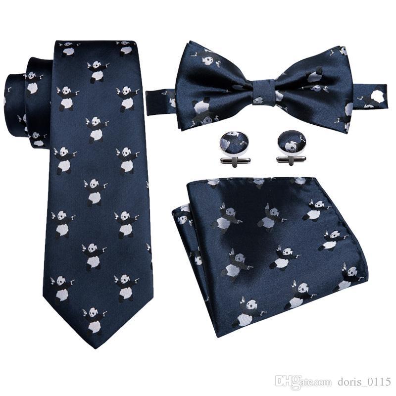Compre 100% De Seda Dos Homens Laços Set E Conjunto De Gravata Borboleta  Azul Escuro Panda Padrão Bonito Design De Moda Designer De Vestido Frete  Grátis LH ... 9e2d521832