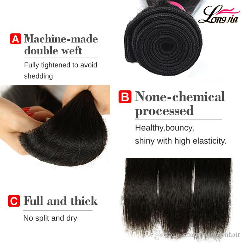 Ear To Ear Lace Frontal Closure With 3 Bundles Brazilian Straight Human hair Weaves With Closure Brazilian Virgin Hair Bundles With Closure