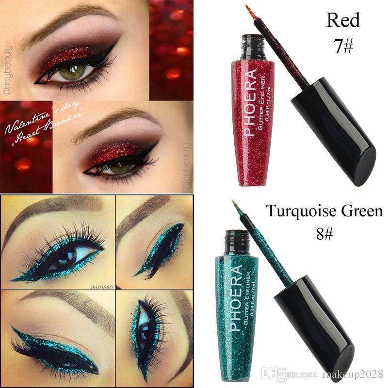 Marca PHOERA es de ojos líquido impermeable del brillo sombra de ojos de resaltado de maquillaje Delineador de ojos libre de DHL 90