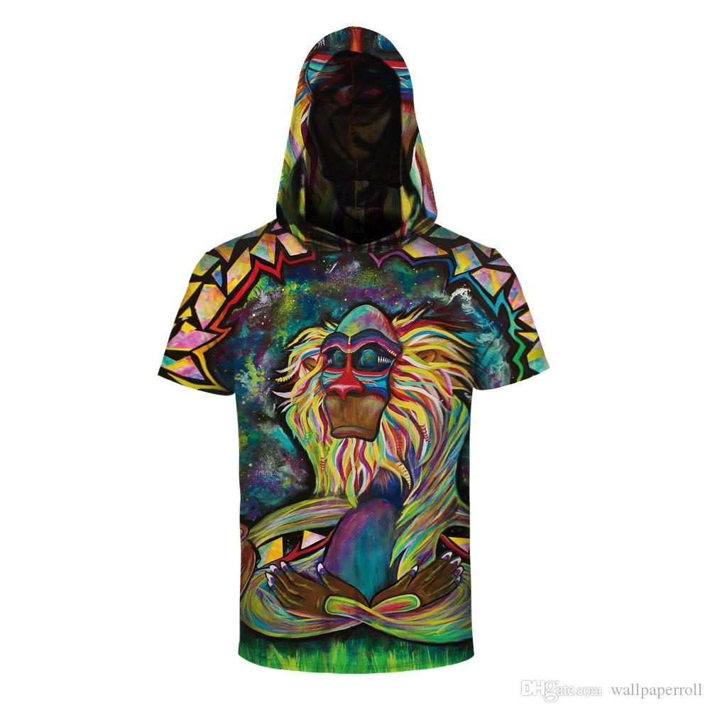 0ee0b0feb0f4 2018 Cool Summer Fashion Trend Style Hooded Short Sleeve T Shirts Funny  Monkey 3d Digital Printing Men Women Casual T Shirt Tees Designs Find A  Shirt From ...