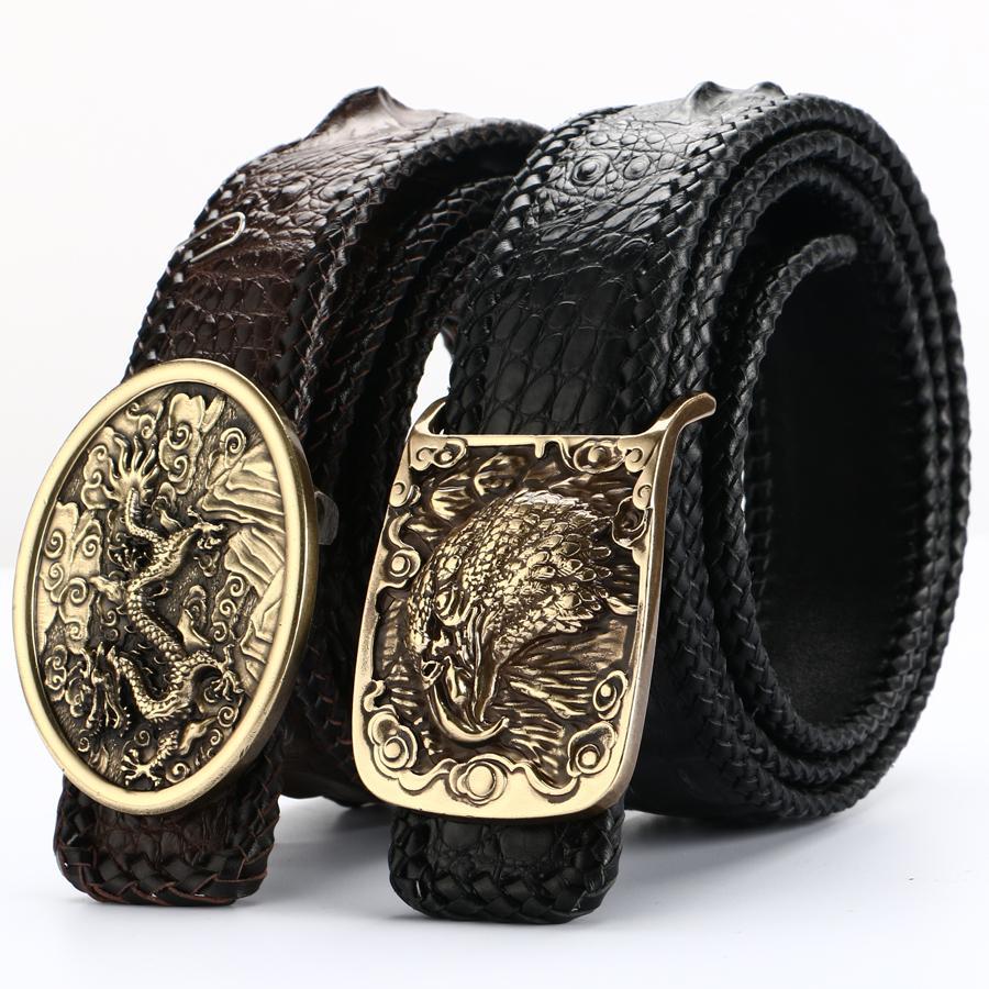 Compre BATOORAP Nuevo Cinturón De Hombre De Alta Calidad Real Hebilla De  Cobre Puro Correas De Cuero De Cocodrilo Cinturones De Diseñador De Marcas  De Lujo ... 5284d254891f