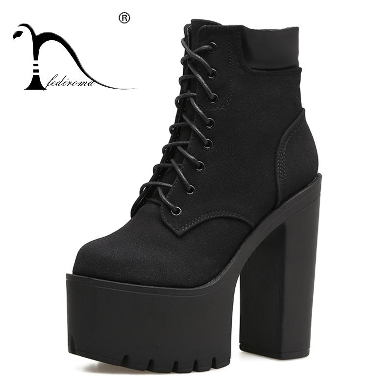 30cbec42352 FEDIROMA Women Ankle Boots Black Flock High Heel Ankle Boots Chunky Heel  Platform Winter Shoes For Women Lace Up Green Boots Cute Shoes From  Keroyeah