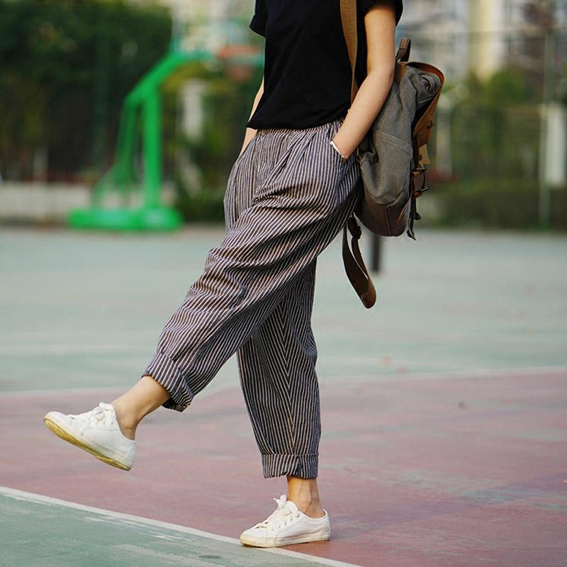 63da02e22eb145 2019 Trousers For Women 2018 Summer Autumn Women'S Linen Pants Loose  Trousers Female Brand Harem Pants Striped S183 From Bishops, $37.76 |  DHgate.Com