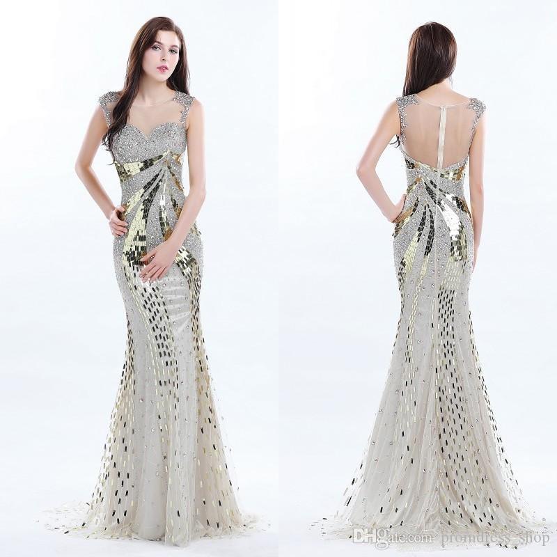 New Stunning Golden Sequined Prom Dresses Sheer Neckline Sleeveless ...