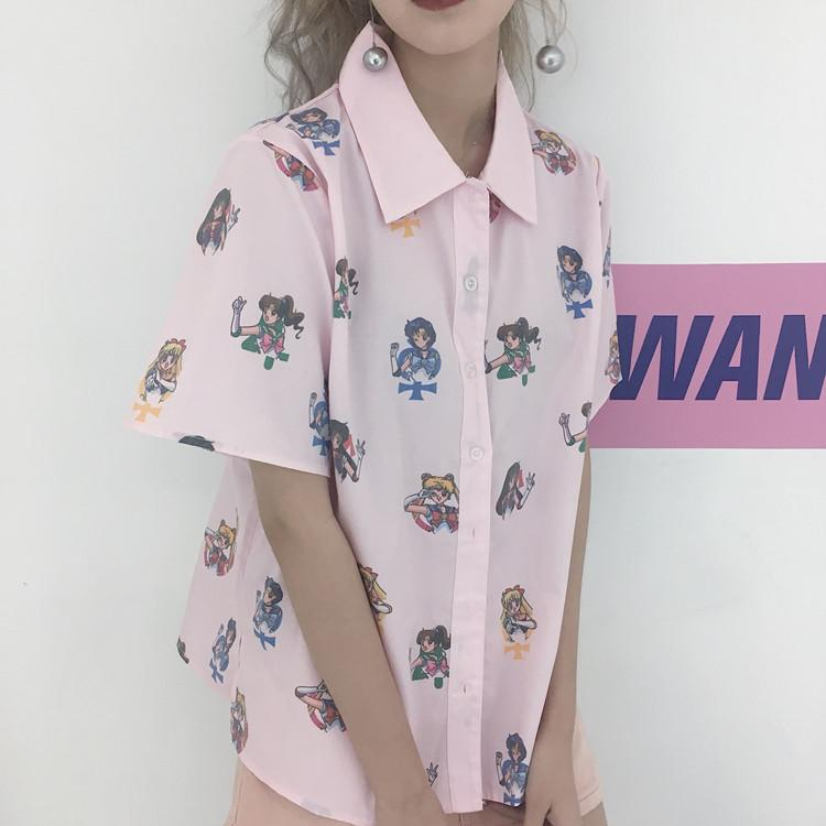 Großhandel Für Frauen Bluse Kurzarm Japanisches Hemd Frei Sailor ...