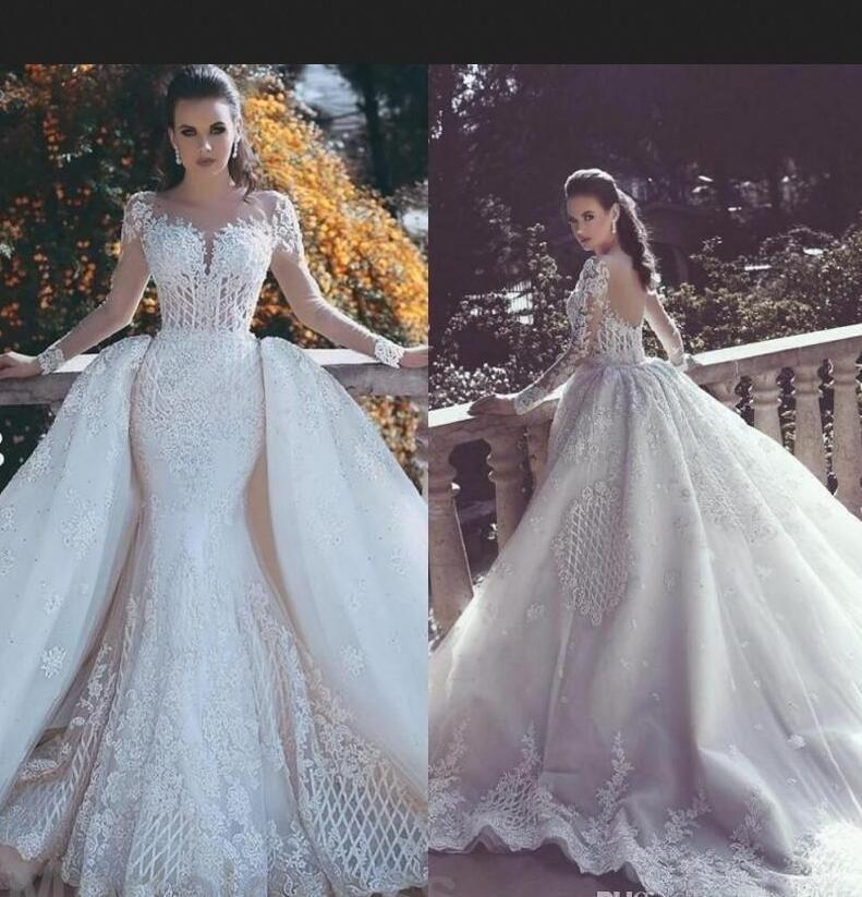Custom Made 2018 Wedding Dresses Lace Appliques Sweep Train Mermaid ...