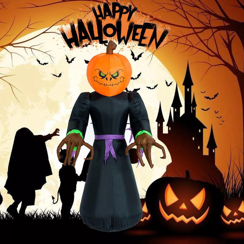Halloween Decor 2 4m Inflatable Pumpkin Ghost Man Lighted Airblown Halloween Creepy Scary Decor Haunted House Prop
