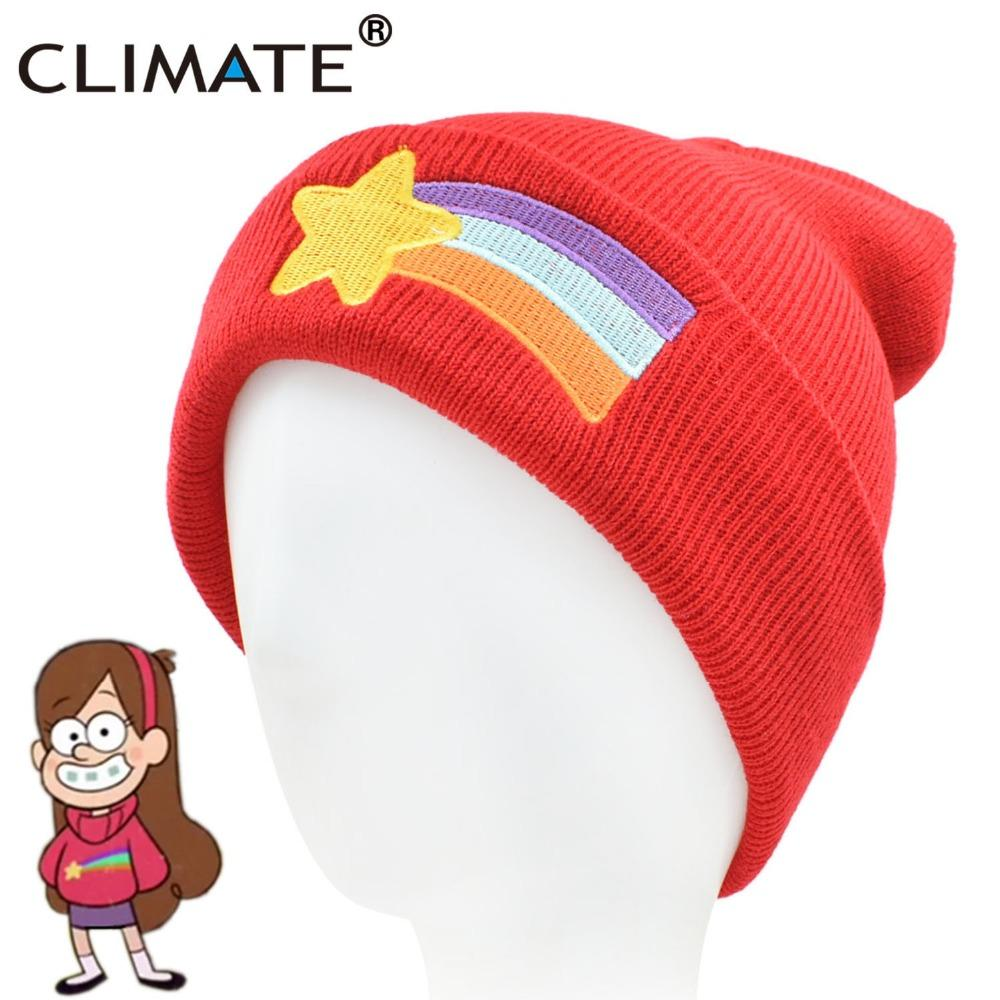 daac841cbdf 2019 CLIMATE Girls Women Winter Warm Hat Gravity Falls Dipper Mabel Pines  Red Knit Beanie Shooting Star Anmation Nice Red Acrylic Hat From Johiny