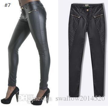 Großhandels-Olrain Dame High Waisted Frauen Sexy Kunstleder Stretch Skinny Hose Slim Jeans Hosen 12 STYLES
