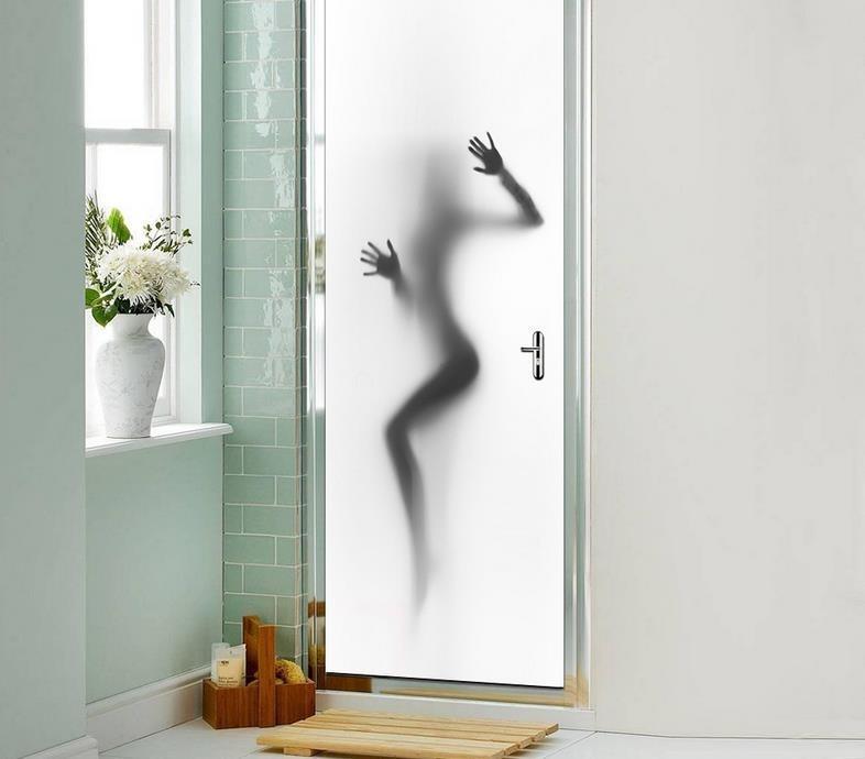 Horrific Shadow Door Pvc Wall Sticker Waterproof Bathroom Glass Door
