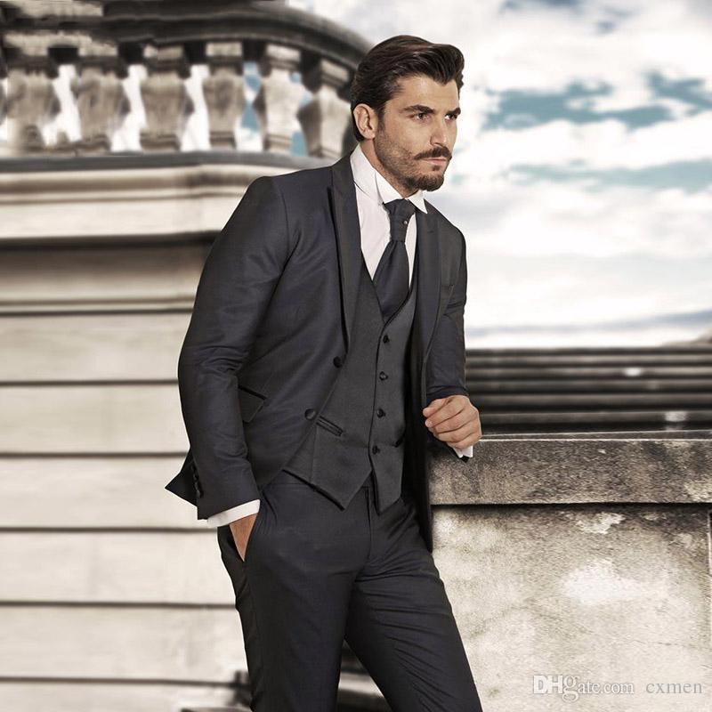 Navy Blue Classic Men Suits For Wedding Blazers Jacket Retro Slim