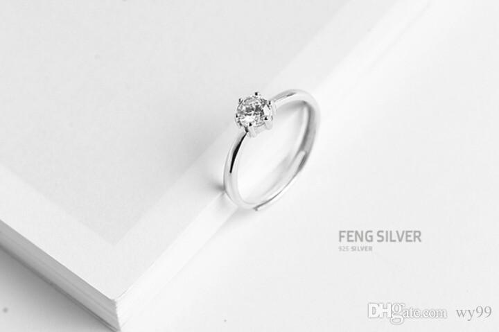 bc3242a448278 New Arrival Women s 925 Sterling Silver Diamond Ring of Fashion Personality  Index Fanger Fresh Simple Thin