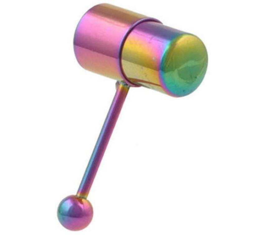 New Arrival Multi Color Silicone Stainless Steel Vibrating Tongue Bar Ring Stud Jewelry Body Piercing 13Style