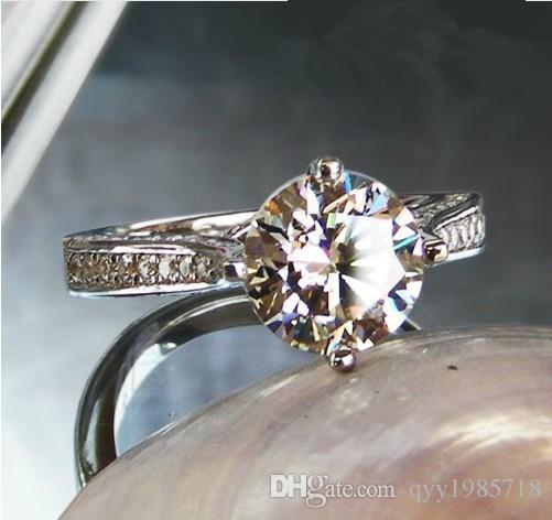Venta al por mayor 925 joyería de plata esterlina color oro blanco corazones y flechas anillo semi montaje redondo 2CT diamantes sintéticos compromiso Rin