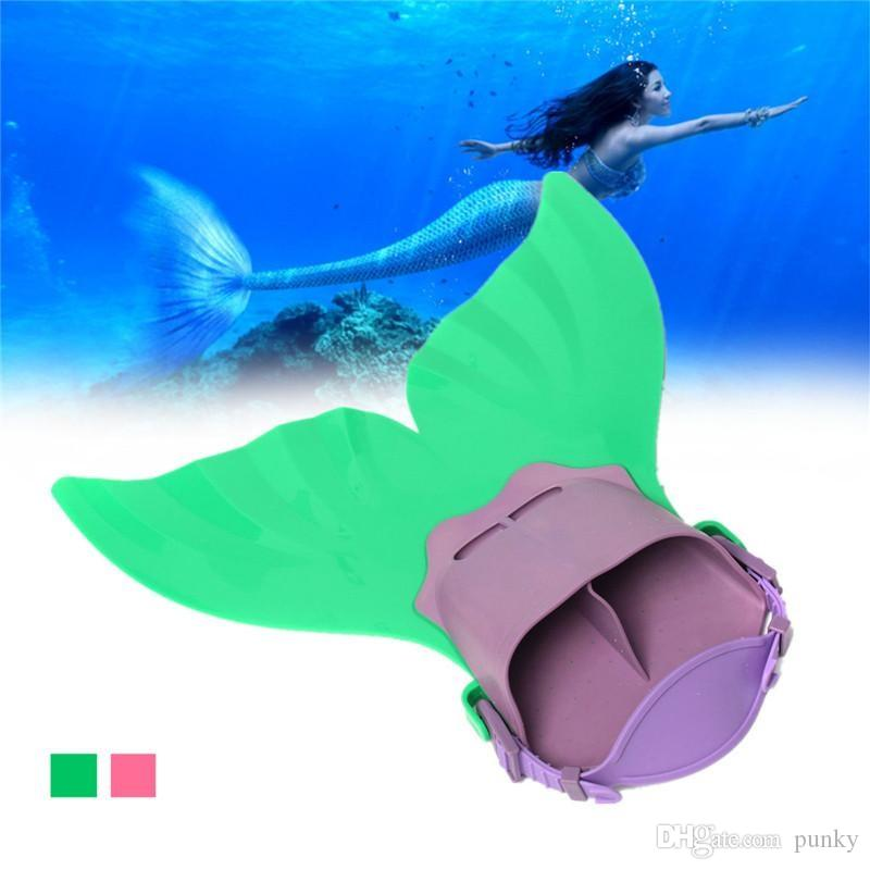 Adjustable Mermaid Swim Fin Diving Monofin Swimming Foot Flipper Mono Fin Fish Tail Swim Training For Kid Children Christmas Gifts