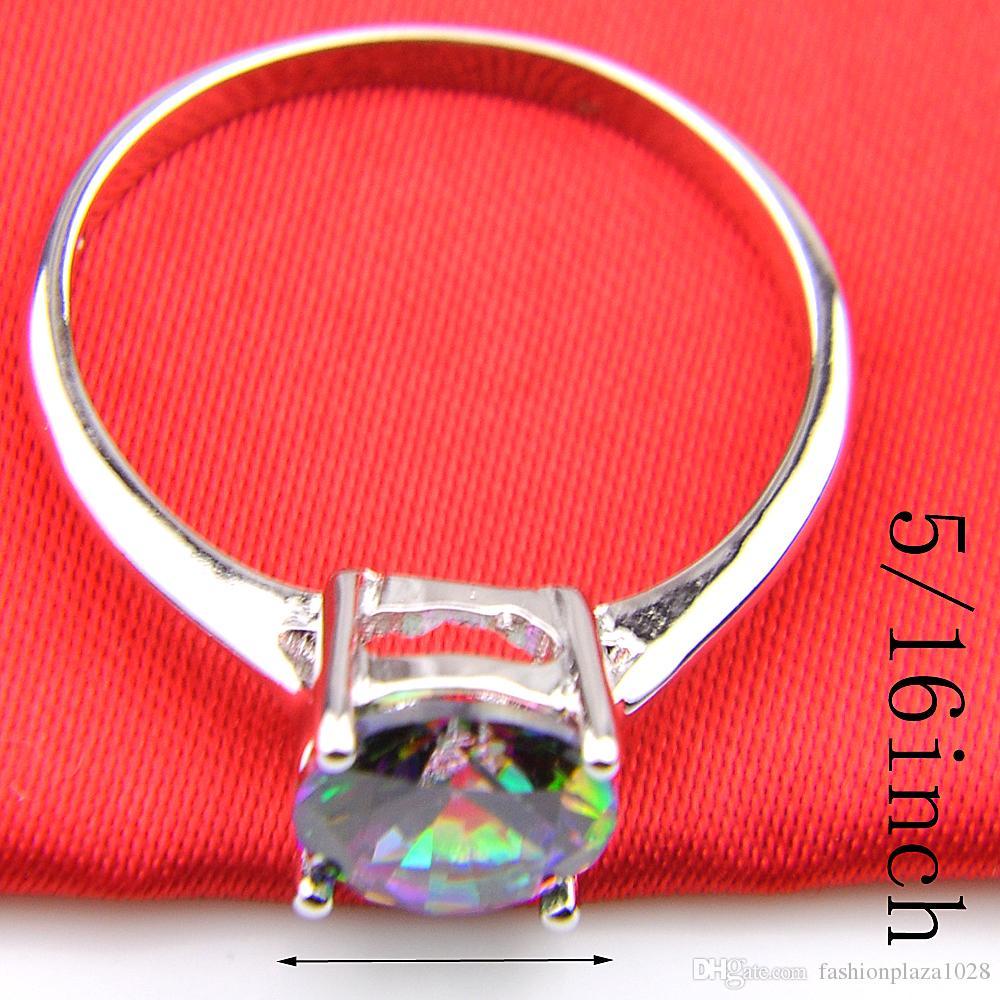 ラッキーシン女性ジュエリーラウンドレインボーミスティックTopaz Gemstoneリング925シルバーレインボージルコンエンゲージリング#7#8#9