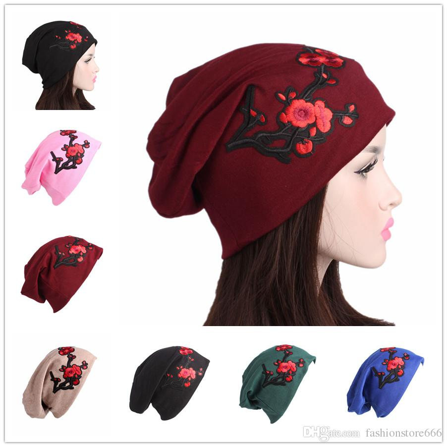 Women New Embroidery Plum Flower Cotton Hats Caps Retro Beanie Skull Hats  Ladies Winter Fashion Warm Hair Accessories Funny Hats Baseball Hat From ... 4b143ee724f