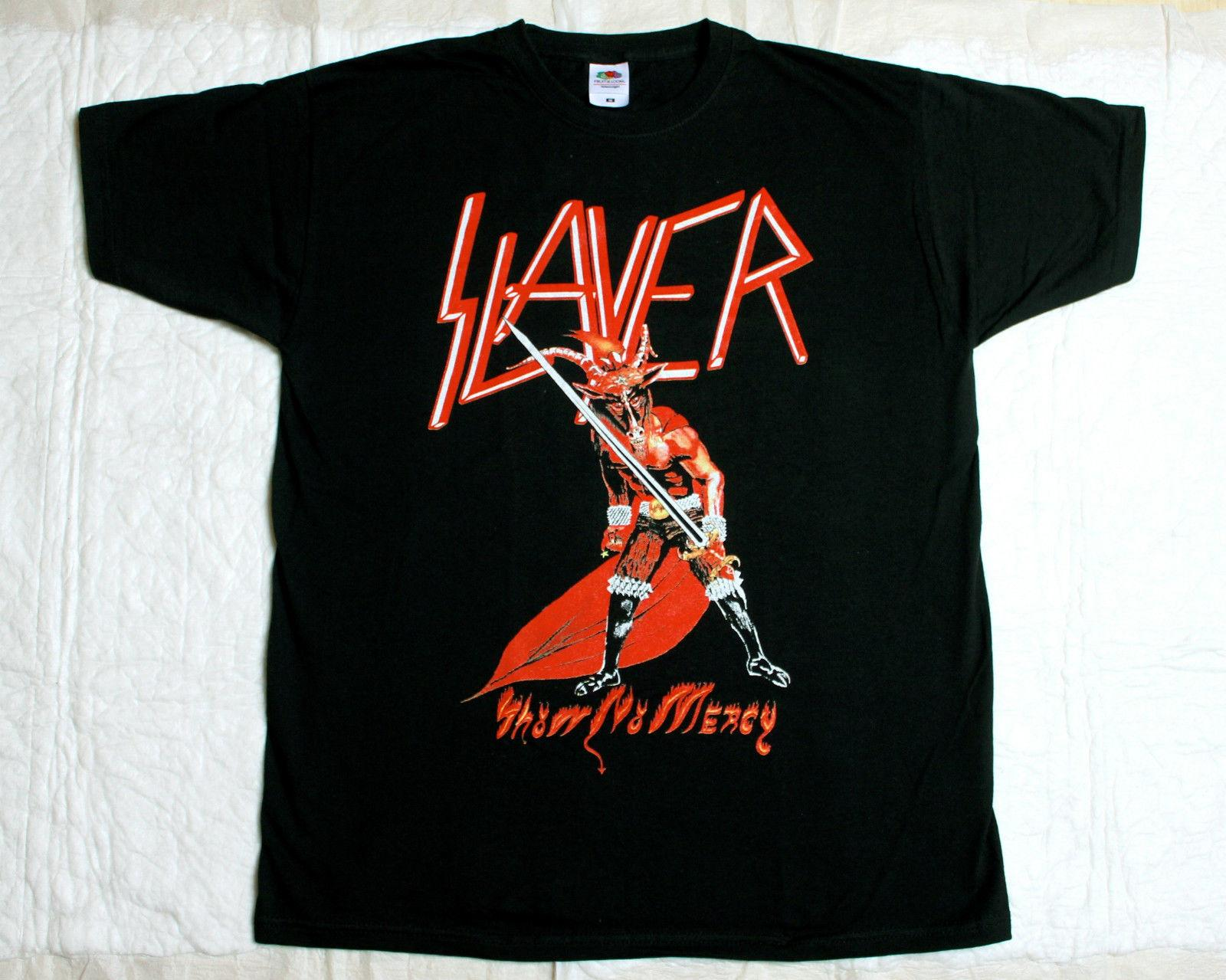 Slayer Show No Mercy'83 New Black T Shirt Tops Summer Cool Funny T-shirt Mens 100% Cotton Short Sleeve Print