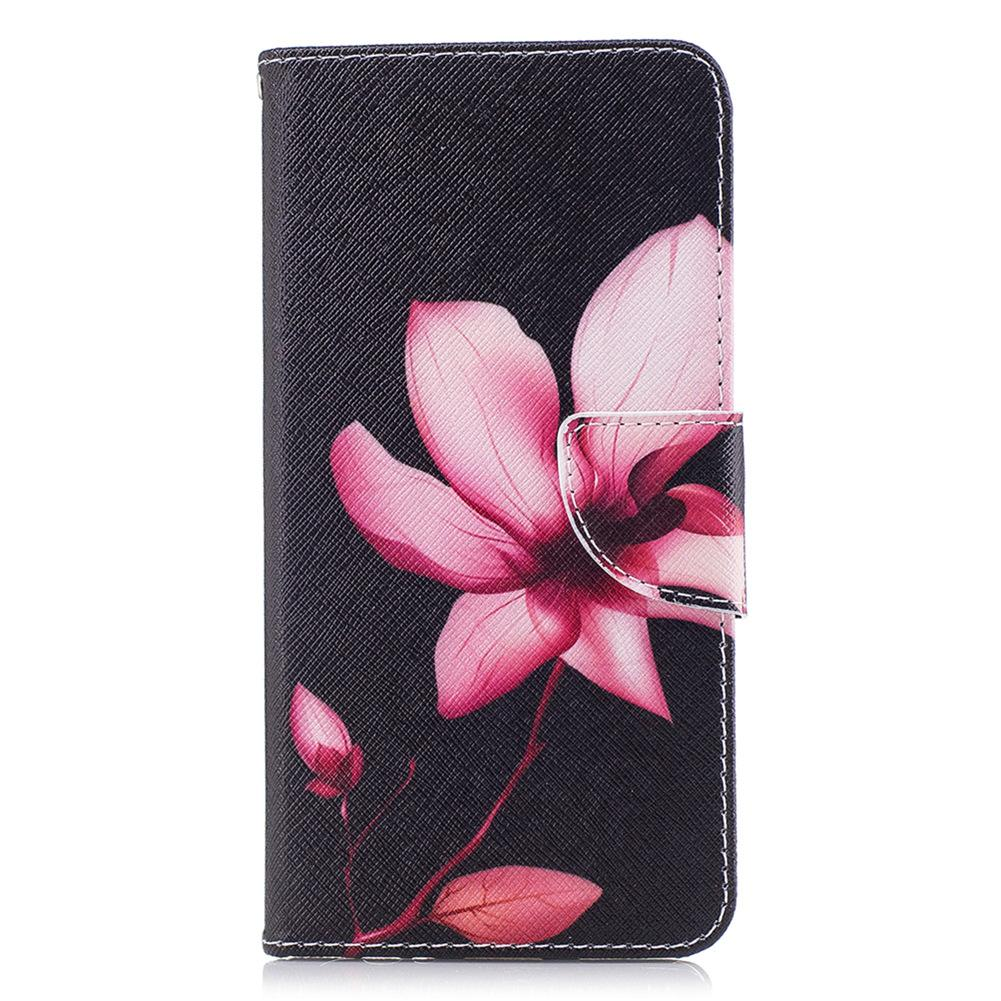 Lotus Flower Mobile Phone Wallet Case Stand Pu Leather Cover With