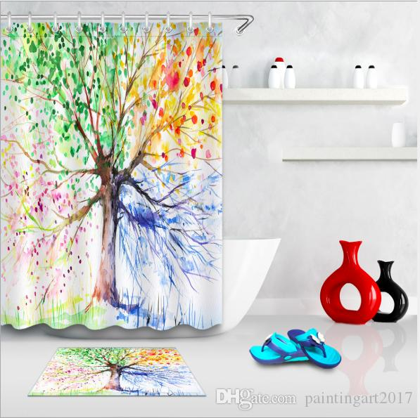 2018 Watercolor Flower Home Waterproof Shower Curtain Abstract Herbs Weeds Blossoms Ivy Back With Florets Shrubs Design Fabric Floor Mat Sets From