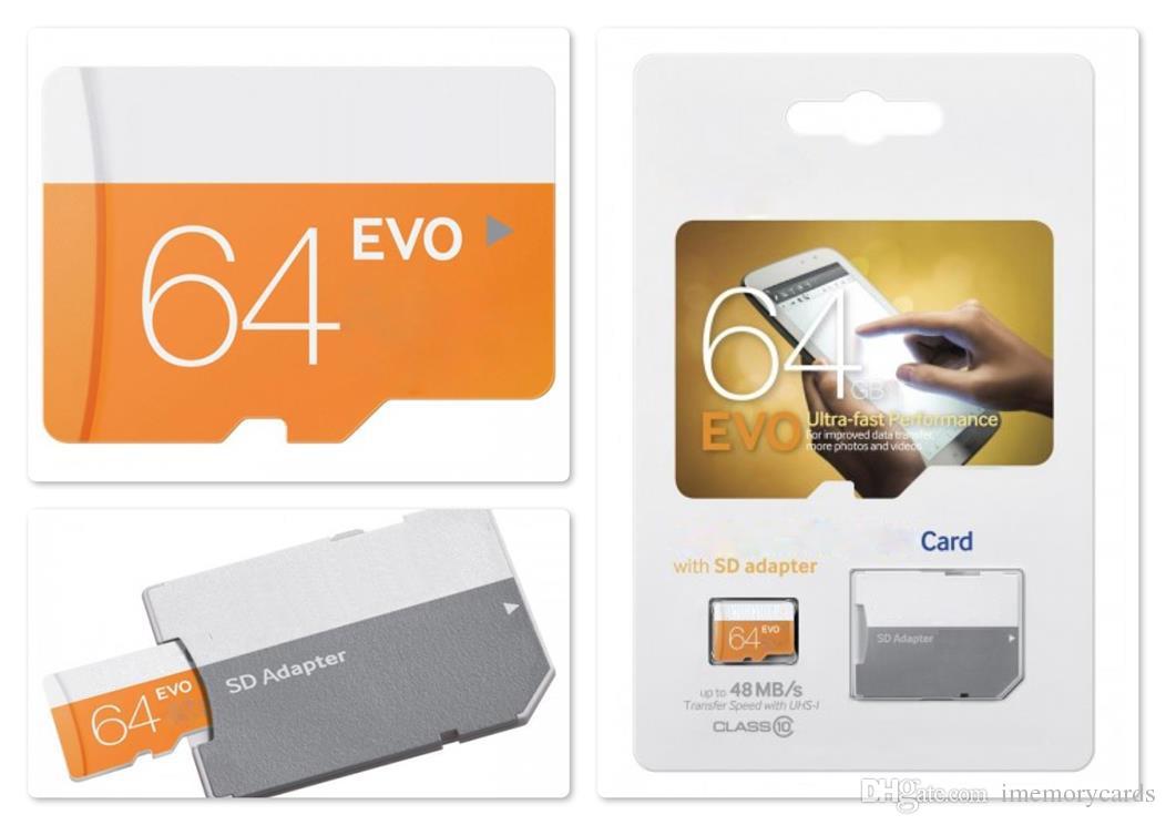 100 % 오렌지 EVO 80MB / S 90MB / S 32GB 64GB 8GB 16GB C10 TF 플래시 메모리 카드 무료 어댑터 소매 물집 포장 Epacket 무료 배송