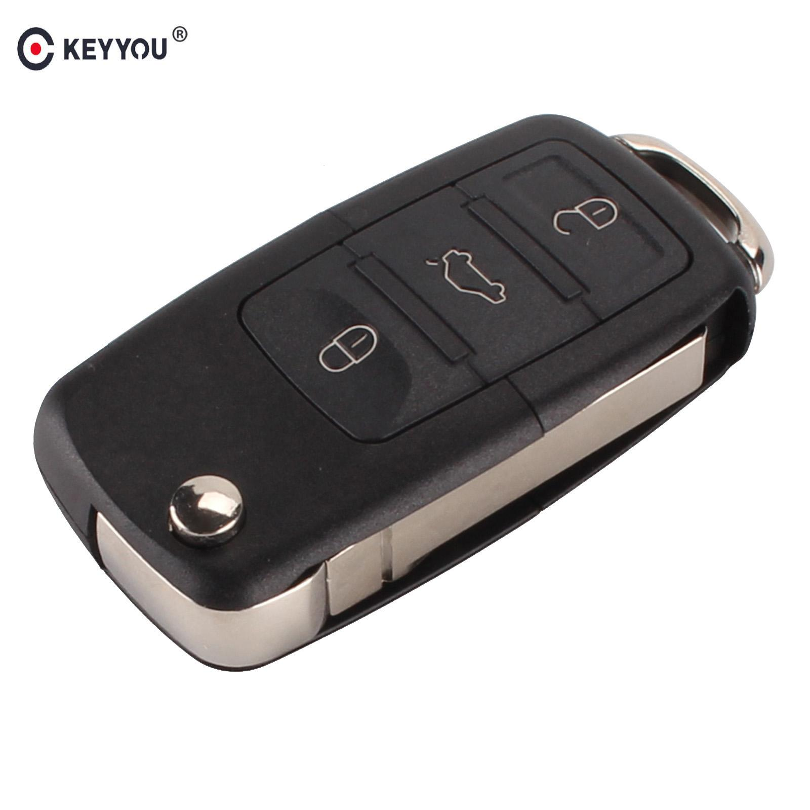 3 button Folding Car Remote Flip Key Shell Case Fob For VW Passat Polo Golf Touran Bora Ibiza Leon Octavia Fabia