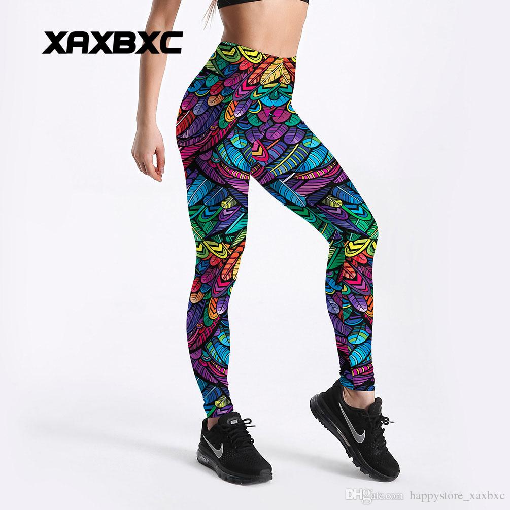 6a747cfb36104 2019 2018 Summer New 4103 Rainbow Feather Leaf Printed Sexy Femme Sport  Yoga Pants GYM Fitness Workout Polyester Women Leggings Plus Size From ...