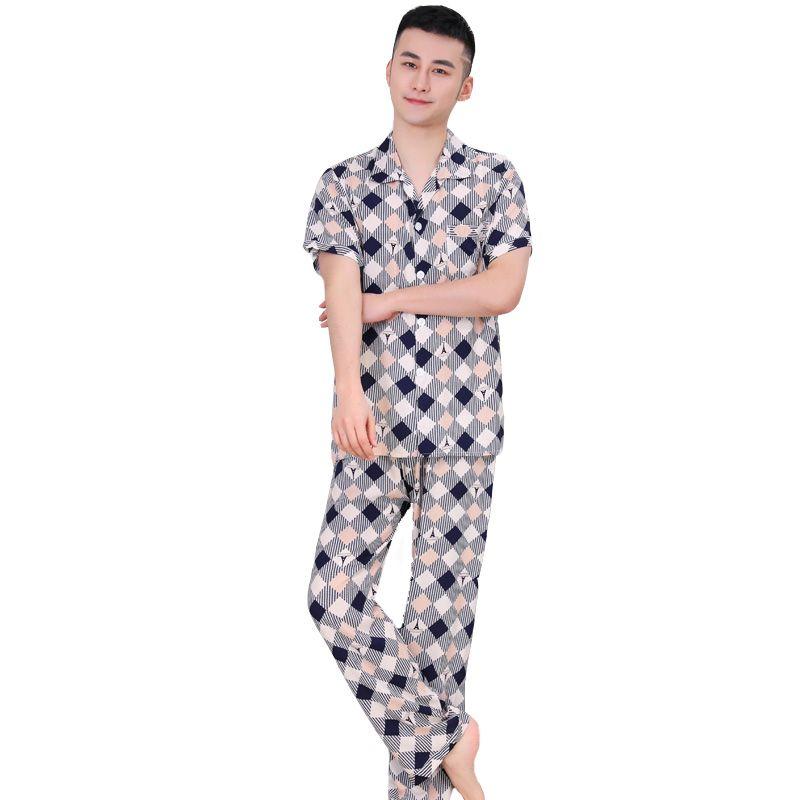 NEW Summer Men Pajamas Set Plus Size Shirt Pant Sleep Suit L-3XL Cotton Casual  Sleepwear Home Clothes Print Nightwear Pajama Sets Cheap Pajama Sets NEW ... 3dbe53b89