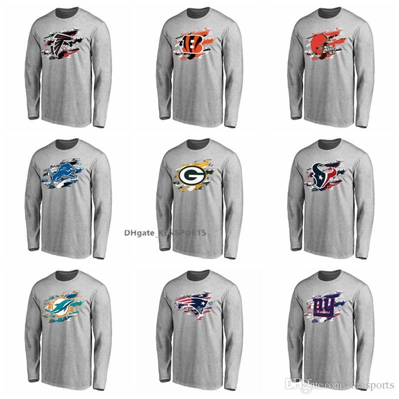 740ad0412 Compre Hombres Falcons Lions Camiseta Empacadores Dolphins Patriots Giants  Pro Line Ceniza True Colors Camiseta De Manga Larga A  17.84 Del Kensports  ...