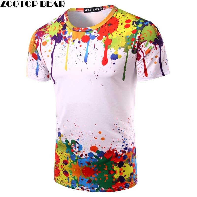 758654830857f Splashed Paint Tops Summer T Shirt Men Short Sleeve Novelty Printed 3d T  Shirts 2017 Personality Round Neck Tees Zootop Bear It T Shirt Design  Clever Tee ...