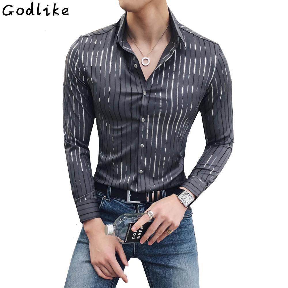 10eb74a857 2019 2018 Luxury Silver Stripe Shirt Men New Long Sleeve Black White Gray  Party Fashion Club Sexy Night Bar Stage Clothing Male Shirt From Vikey10,  ...