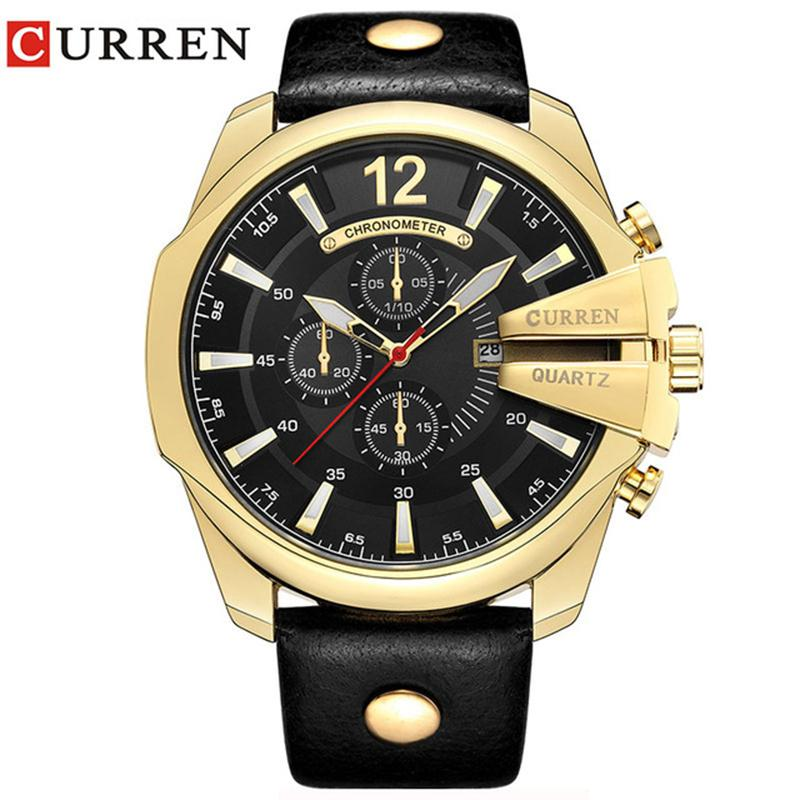 9ef86326711 Compre Relogio Masculino CURREN Homens Relógios Transporte Da Gota Top  Marca De Luxo Relógio De Quartzo Homens Relógios De Ouro Dos Homens Relógio  Dos ...