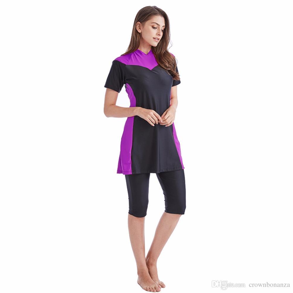 Женщины плюс размер 4XL скромный мусульманский купальники с короткими рукавами буркини хиджаб Muslimah Исламский купальник спорт Женщины пляжная одежда Одежда