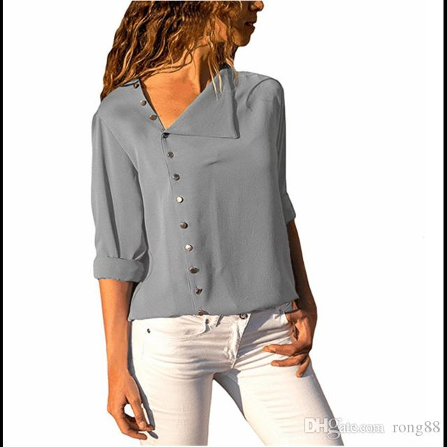 competitive price 0bd65 5675b 2018 Herbst Frauen Bluse Shirt Langarm Elegante Damen Blusen Taste Casual  Top Grau Schwarz Weibliche Shirts Blusas Dropshipping