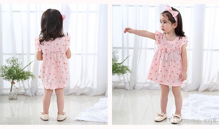 Cute Summer Infant Girls Clothing Overall Suits Bat Sleeve Pink Cherry Strawberry set Dresses Panties and Headband for Babies