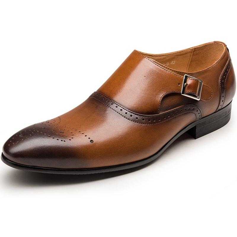 Men Black Brown Dress Shoes Slip On Man Formal Suit Oxfords Footwear