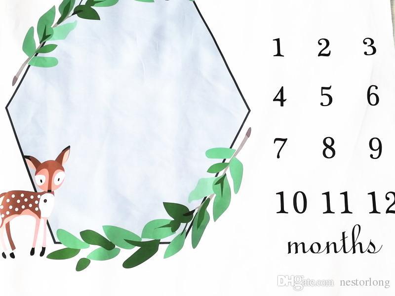 Infant Milestone Couverture photo Photographie Prop Couvertures Toile de fond tissu Calendrier Bébé Garçon Fille de photo Accessoires 100x100cm