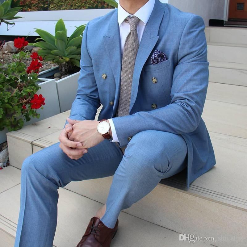 Custom Made Blue Groomsmen Tuxedos Two Pieces Wedding Suits For ...