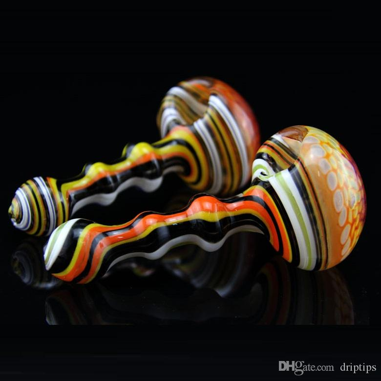 5 Inch Glass Spoon Pipes Colorful Hollow Glass Pipes tobacco dry herb bong Hand bubblers pipes in stock