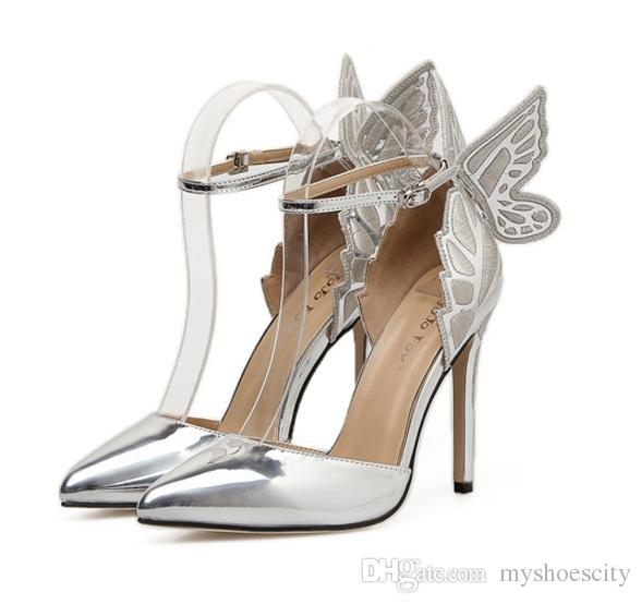 2018 Wedding Shoes Designer Shoes Butterfly Ankle Strap Pointy Pumps Silver  Champagne Black Size 35 To 40 Silver Heels Dress Shoes From Myshoescity