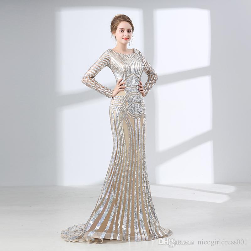 Luxury Long Sleeves Evening Dresses 2018 Mermaid Sequin Muslim Arabic Style  Women Formal Evening Party Gown Robe De Soiree Summer Evening Dresses White  ... 5b345cbd3523