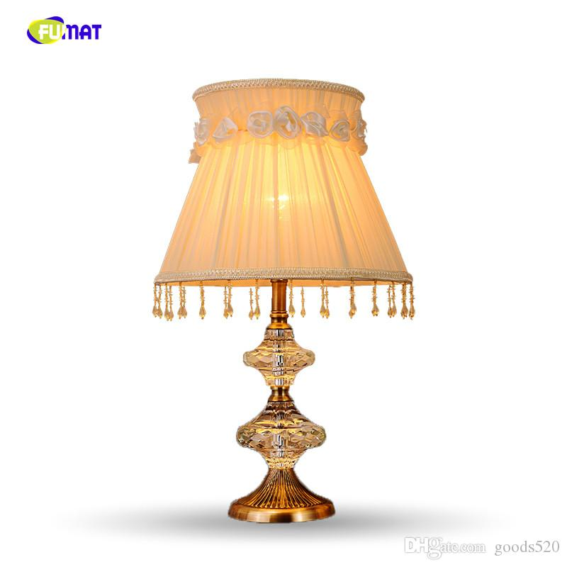 Lights & Lighting Smart Europe Crystal Bedroom Table Lamp White Fabric Lampshade Living Room Decoration Abajur Table Lamp For Bedroom Lamparas De Mesa