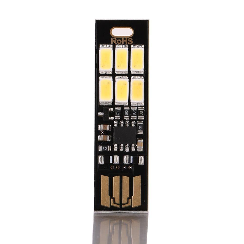 Nachtlampe Mini Pocket Card USB Power 6 LED Schlüsselanhänger Nachtlichter Touch Dimmer Warmes Licht für Power Bank Computer Laptop