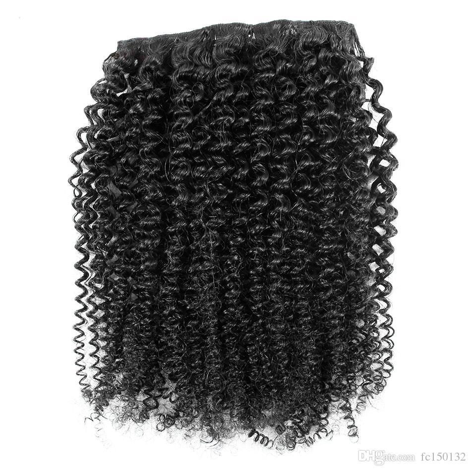 Moğol kinky kıvırcık saç tokası 7 adet / takım İnsan saç uzantıları içinde Klip doğal Saç Klip Ins 4b 4c