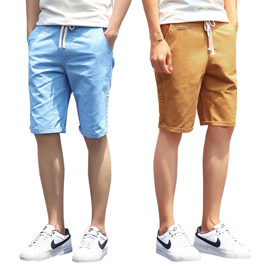 c1c08e7233 2019 Shorts Men 2016 Summer Fashion Solid Mens Shorts Casual Cotton Slim  Bermuda Masculina Beach Shorts Classic Knee Length Short From Netecool, ...