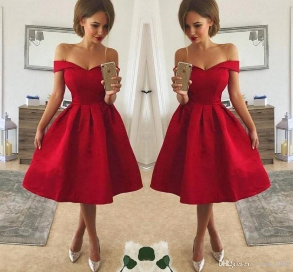 b1a561ab0c5 Simple Style Cheap Red Cocktail Dresses Off Shoulder Ruched Satin Knee  Length A Line Prom Party Gowns Formal Short Dresses Gothic Prom Dresses From  ...