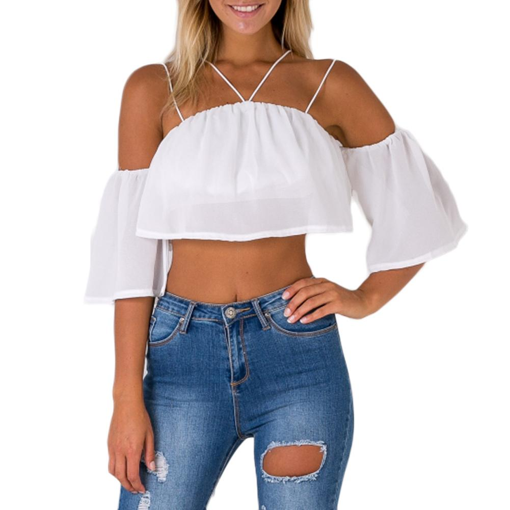 d81bcd01880108 2019 Sexy Fashion Women Loose Crop Top Solid Off Shoulder Backless Strappy  Short Sleeves Casual Blouse XL Tank Tops White From Fafachai07, $24.08 |  DHgate.