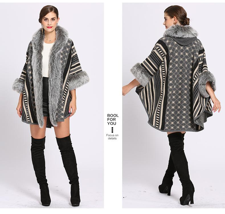 C208 2018 Oversize Women Printed Designer donna maniche lunghe maglione lavorato a maglia Cardigan con cappello inverno Faux pelliccia di coniglio Poncho