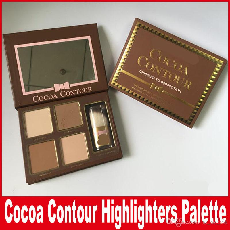 New Makeup COCOA Contour Kit 4 Colors Bronzers Highlighters Powder Palette Nude Color Shimmer Stick Cosmetics Chocolate Eyeshadow with Brush